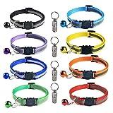 YANSHON 8 Stück Nylon Katzenhalsband Reflektierendes Katzenhalsbänder + 4 Stück Anhänger mit sicherheitsverschluss, Verstellbar 20–30 cm, Halsbänder geeignet für die meisten Hauskatzen