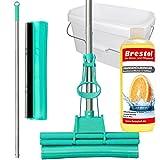 Green Mop Set 30-03 - Green Mop 30 cm + Stiel + Ersatzschwammm + 10 Liter Eimer in weiß + 1000 ml Orangenölreiniger Konzentrat - Doppelwringer Mop saugstarker WischMop PVA Bodenwischer