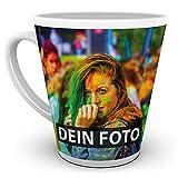 Tasse selbst individuell gestalten/Personalisierbar mit eigenem Foto Bedrucken/Fototasse/Motivtasse/Werbetasse/Firmentasse mit Logo/Konische Tasse Weiss