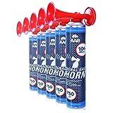AAB Signal Gas Horn 750 ml – Laut Air Horn 106 dB(A), Tröten Fußball, Lufthorn, Vuvuzela, Pressluft Gashupe, Drucklufthupe, Druckluftfanfare - Wertpaket 2 Stück