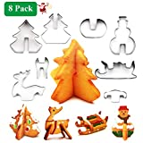 Plätzchen Ausstecher Weihnachten, 3D Ausstechformen Kinder, 8 Stück Edelstahl Keksausstecher, Plätzchenausstecher Weihnachten für Tortendeko Kekse Backen Küche Zubehör