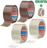 Tesa 2 Rollen Braun + 2 Rollen Transparent Paketband Packband, leise abrollend - 50mm X 66m + Gratis Tesafilm [15mm X 10m]