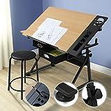 Zeichentisch mit Hocker - stufenlos, neigbar, mit 2 praktischen Schubladen und doppelter Arbeitsfläche, für Architekten und Techniker - Schreibtisch, Bürotisch, Arbeitstisch, Architektentisch