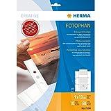 HERMA 7584 Fotophan Fotosichthüllen weiß (9 x 13 cm quer, 10 Hüllen, Folie) mit Beschriftungsetiketten und Eurolochung für Ordner und Ringbücher, beidseitig bestückbare Fotohüllen