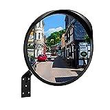 RMAN® Verkehrsspiegel Ø30cm Sicherheitsspiegel Außenbereich Wetterfester Konvexspiegel mit Halterung Panoramaspiegel für Garagen Hofeinfahrten UVM Innen & Außen Schwarz
