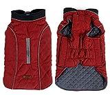 Tineer Haustier Jacke Hundebekleidung Winterwärmer Gesteppte Hundemantel Winter Haustier Jacke Weste Retro gemütliche warme Haustier Outfit Kleidung (XS, Red)