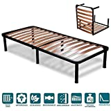 EVERGREENWEB - Klappbar Lattenrost 90x200 Einzelbett Höhe 35 cm Orthopädisches Klapp Bet, Komfort Leisten Holz mit 6 Abnehmbar Füße, Verstärkte Rahmen aus Stahl Bettgestell für alle Betten & Matratzen