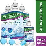 PREMIUM Kontaktlinsen Fluessigkeit für weiche Linsen, Made in Germany - 4 Flaschen All-in-One Kombilösung für Monats- und Wochenlinsen - Inkl. 4 Behälter, Reinigt & desinfiziert