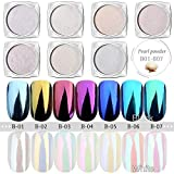 USHION 7 Jar Meerjungfrau Pearl Powder Chrom Nägel Spiegel Effect Nail Art Glitter Pigment Staub Irisierend Trend