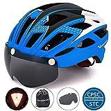 VICTGOAL Fahrradhelm Herren Damen Erwachsene Fahrrad Zyklus Helm Magnetischer Visier-Schutzbrille mit LED-Rücklicht 57-61 cm (Bue)