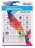 Grundig 85572 Knopfzellen-Batterien 20 Stück, weißsilber