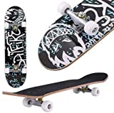 Oppikle Skateboard Komplettboard Mit ABEC-9 Kugellager Und 9-Lagigem Ahornholz 95A Rollenhärte Funboard FÜR Anfänger Und Profis - Belastung 100 KG (Graffiti)