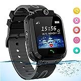Smartwatch für Kinder Waterproof Telefon Uhr Kinder mit LBS Tracker Kids SmartWatch für 3-12ans Junge Mädchen Geschenk, Schwarz