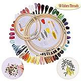 JuguHoovi Stickerei Set, Kreuzstich Set Stickgarn Kit mit 5 Stück Bambus Stickrahmen,50 Farbe Fäden,12 von 18-Zoll 14 Count Classic Reserve Aida und Nadeln Set