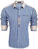 Burlady Trachtenhemd Herren Hemd Kariert Oktoberfest Cargohemd Baumwolle Freizeit Hemden Super Qualität- Gr. L, Blau