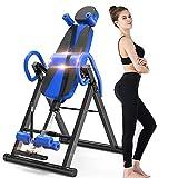 Yoleo Schwerkrafttrainer Inversionsbank klappbar Rückentrainer, volle vertikale Inversion 180° unterstützt maximal 136KG mit Kopfstütze Rückenkissen Schutzgürtel Körpergrßenskala