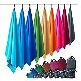 Fit-Flip Microfaser Handtuch – federleicht, Ultra saugstark und schnelltrocknend – (2X 80x40cm + 1x Tasche, Königsblau)