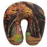 tyui7 Autumn Dead Leaf Road U-förmiges Nackenkissen mit Memory-Schaum für Reisen und Linderung von Nackenschmerzen Bequeme, superweiche Zervixkissen
