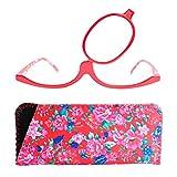 Make-Up Schminkbrille mit klappbaren Brillenglas, Modische Schminkhilfe mit GRATIS Brillenetui +3.0 Dioptrien (Rot)