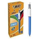 BIC 4-Farben-Kugelschreiber in Rot, Blau, Schwarz und Grün, Strichstärke 0,4mm, 12er Set fürs Büro