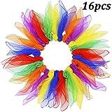 WENTS Kindergarten Tücher Tanz Jonglier Tücher Performance Schals Chiffon Tanz Kinder Spielen Sinnesspielzeug für Kleinkinder Babys 16 Farben 60 x 60 cm Packung mit 16