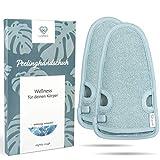 2 Stück - LoWell® - Peelinghandschuh rau inkl. Peeling-Guide + 2 x BONUS Saugnapf - LUXUS für deinen Körper - Wellness Handschuh - Dusch Schwamm Body - Hamam Handschuhe Gesicht (Grau)