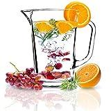 KADAX Krug, Glaskanne, Glaskrug aus robustem Glas, Wasserkrug mit Auslauf und handlichem Griff, Glaskaraffe für kalte Getränke, Saft, Milch, Eistee, transparent (Luca, 1.23L)