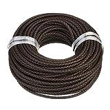 Lederband Lederschnur geflochten - Durchmesser 4 mm/Farbe Braun/Länge 1m