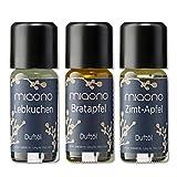 Duftöle von miaono - Wunderbare Welt der Düfte - Aromaöle für himmlichen Raumduft (Lebkuchen-Bratapfel-Zimt/Apfel, 3er Set 3x10ml)