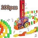 0BEST Domino Zug Spielzeug Set, Elektrischer Zug 100PCS der Domino Rallye, Lernspielzeug für Kinder über 3 Jahre Transparente Front