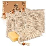 DERMATEST: SEHR GUT - True Nature® [4er Set] Seifensäckchen mit farbigen Labels zum Unterscheiden - Extra Groß für jede Seife - Inkl. E-Book