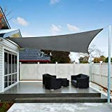 AXT SHADE Sonnensegel Wasserabweisend Rechteck 3,5x4,5m, Sonnenschutz imprägniert PES Polyester mit UV Schutz für Terrasse, Balkon und Garten- Graphit