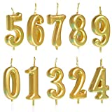 10 Stück Geburtstagskerzen, Zahlenkerzen 0-9, Glitzer, Kuchen-Dekoration für Geburtstag, Party, Gastgeschenk, Feiern, Gold/Silber/Rotgold 1