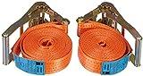 2er Set Braun Spanngurt 4000 daN, einteilig, für Profis, nach DIN EN 12195-2, geeignet für schwere Lasten für 2-achsige Anhänger, Farbe orange, 6 m Länge, 50mm Bandbreite.
