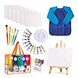 Kinder Kunst Set | 27-teiliges Acrylfarben-Set mit 5 Pinsel 8x10 Malleinwand Tischplatte Staffelei & Bonus Art Smock Paint Palette Farbmischtabelle