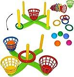 alles-meine.de GmbH XL Set _ Wurfspiel -  UMBAUBAR  - Ringwurfspiel & Ballwurfspiel - aus Kunststoff / Plastik - incl. 5 Stück Wurfringe - Ringe - Innen & Außen - Outdoor - Kin..