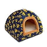 Haustierbett 2 In 1 Zelt Mode Erdbeere Hund Katze Nest verschleißfeste dicke Leinwand Kleintiervilla Vier Jahreszeiten verfügbar Indoor Outdoor Haustiere Höhle Loch faltbar (Color : Blue pikachu)