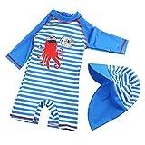 G-Kids Kinder Jungen Badeanzug Bademode Einteiler UPF 50+ UV Schützend Schwimmanzug mit Sonnenhut,Blau/Weiss,100-110 (Etikette 4)