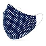 tanzmuster ® Behelfsmaske waschbar für Erwachsene - 100% Baumwolle OEKO-TEX 100 mit Nasenbügel und Filtertasche - Community Maske wiederverwendbar 2-lagig in Polka-Dots dunkelblau Größe M Erwachsene