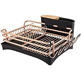 BRIAN & DANY Abtropfgestell, Geschirrkorb Aluminium mit becherhalter und Besteckkorb, Geschirrabtropfgitter mit schwenkbarem Ausgießer, Golden