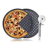 SteelFever 3 Stück Pizzablech Set, Antihaft Pizza Backblech mit Löchern und Pizzaschneider 32cm