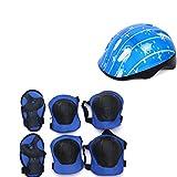 6SHINE Ultraleichte Kinder Fahrradhelm Scheibe Knie Ellenbogen Schutz Handschutz Skateboard Reiten Kind Radfahren Sicherheitsausrüstung(Blau)