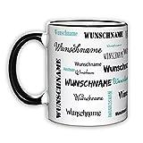Herz & Heim® Namenstasse in verschiedenen Schriftarten 300 ml aus Keramik mit Farbauswahl Schwarz