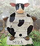 Deko-Briefkasten 'ERNA', Motiv: Kuh mit Zeitungsrolle in Form einer Milchkanne 2169