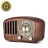 Retro Radio klein Holz Tragbare Radio mit Bluetooth Lautsprecher Klassisches Vintage Radio Laderadio Starke Bassverstärkung UKW-Radio, TF-Karte und MP3-Player