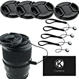 CamKix 4 Stück Snap-on Objektivdeckel oder Zentrum Pinch Objektivdeckel für Nikon, Canon, Sony und andere DSLR-Kameras – Inklusive EIN Mikrofaser Reinigungstuch (58mm)