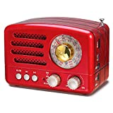 PRUNUS J-160 AM/FM/SW Kleines Retro Radio mit Bluetooth, Nostalgie Radio Tragbares mit 1800mAh wiederaufladbare Batterie, Unterstützt USB/TF-Karte/Aux Funktion (rot)
