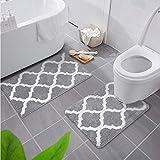 Homaxy rutschfest Badematten Set 2 teilig Weich Hochflor Bad WC Badezimmerteppich Set Mikrofaser Badvorleger Set 2teilig -Grau