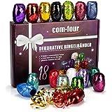 com-four® 18x Glitzer Ringelband in bunten Farben - 20 m je Rolle - hochwertiges Set Geschenkbänder zum Basteln und Verpacken - funkelndes Polyband in Geschenkverpackung (Festlich)