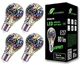 4x greenandco Designer LED Lampe mit 3D Feuerwerks-Effekt zur dekorativen Stimmungsbeleuchtung E27 A60 Edison Glühbirne 4W 80lm 230V flimmerfrei nicht dimmbar 2 Jahre Garantie